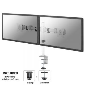 "MountingSuitable forComputer monitorMinimum screen size compatibility25.4 cm (10"")Number of displays supported2Minimum VESA mount75 x 75 mmMaximum VESA mount100 x 100 mmMountingClampMaximum weight capacity8 kgMaximum screen size compatibility68.6 cm (27"")ErgonomicsAdjustable depthYesDepth adjustment range4 - 430 mmHeight adjustmentYesHeight adjustment range0 - 400 mmSwivel angle180°Tilt angle range-45 - 45°Angle of rotation360°Technical detailsProduct colourWhiteSuitable forComputer monitorDesignProduct colourWhiteWeight & dimensionsPackage width150 mmPackage depth130 mmPackage height473 mmHeight400 mmPackage net weight4.44 kgLogistics dataMaster (outer) case width49.5 cmMaster (outer) case length31.5 cmMaster (outer) case height27 cmQuantity per master (outer) case4 pc(s)Master (outer) case net weight17.8 kgOther featuresMountingClampCountry of originChina"